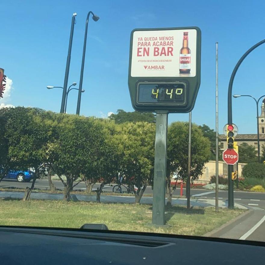 Un termometro en Zaragoza.