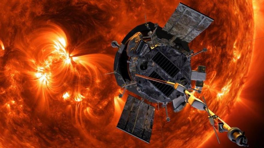 Impresión artística de la sonda Parker aproximándose al Sol.
