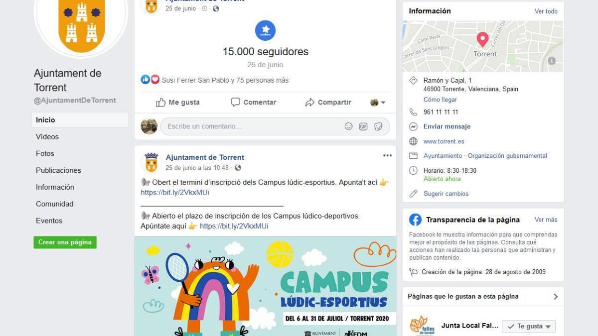 Se disparan los seguidores de las redes sociales del Ayuntamiento de Torrent