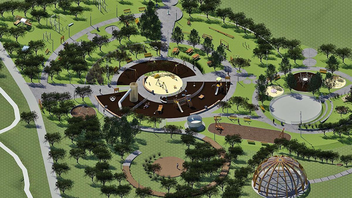 Imagen virtual del parque proyectado por el Concello de Arteixo en el entorno del paseo fluvial.  | // L. O.
