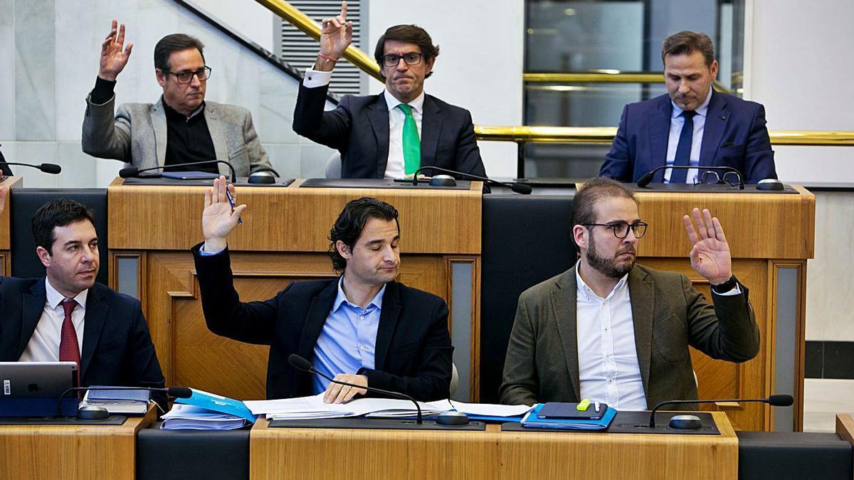 Diputados del PP en un pleno celebrado antes de la pandemia. | INFORMACIÓN