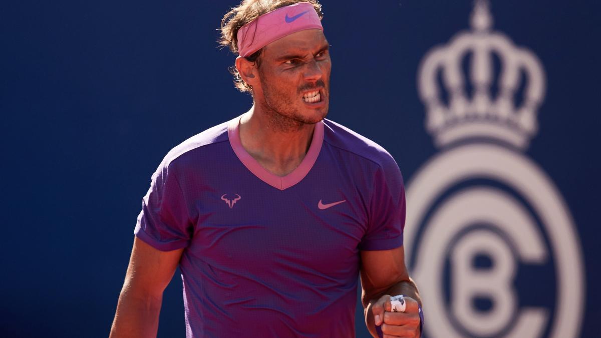Nadal celebra un punto ante Carreño en semifinales.