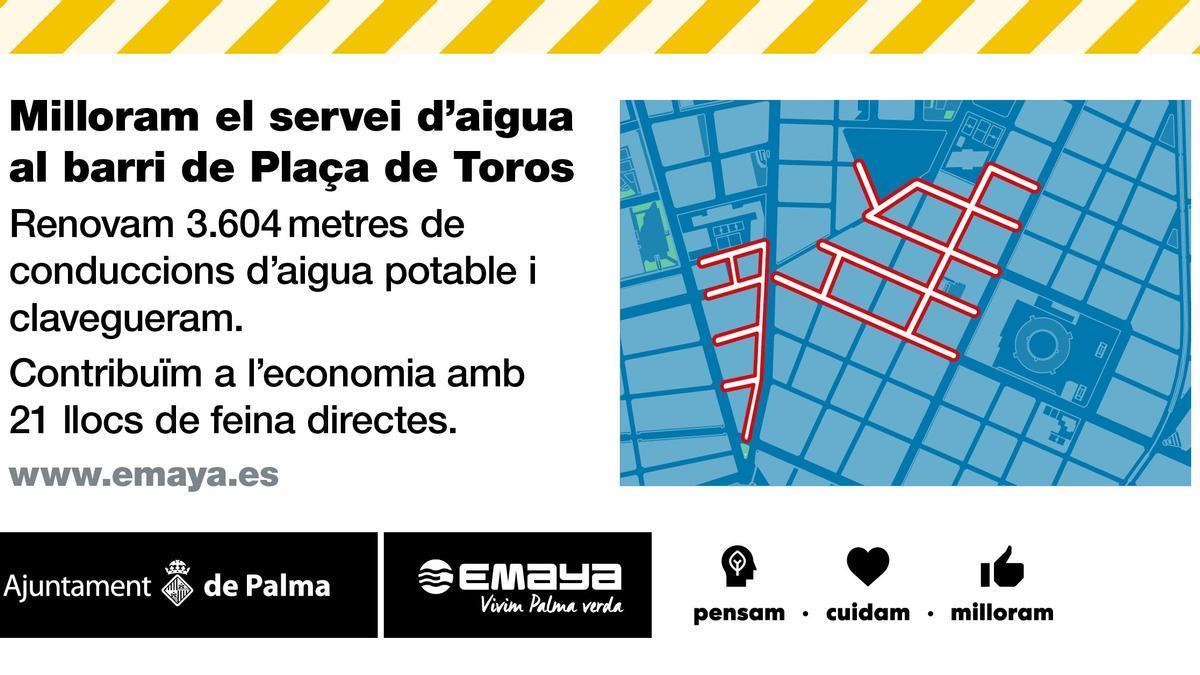 Las calles afectadas por la renovación de las redes de saneamiento y agua potable.