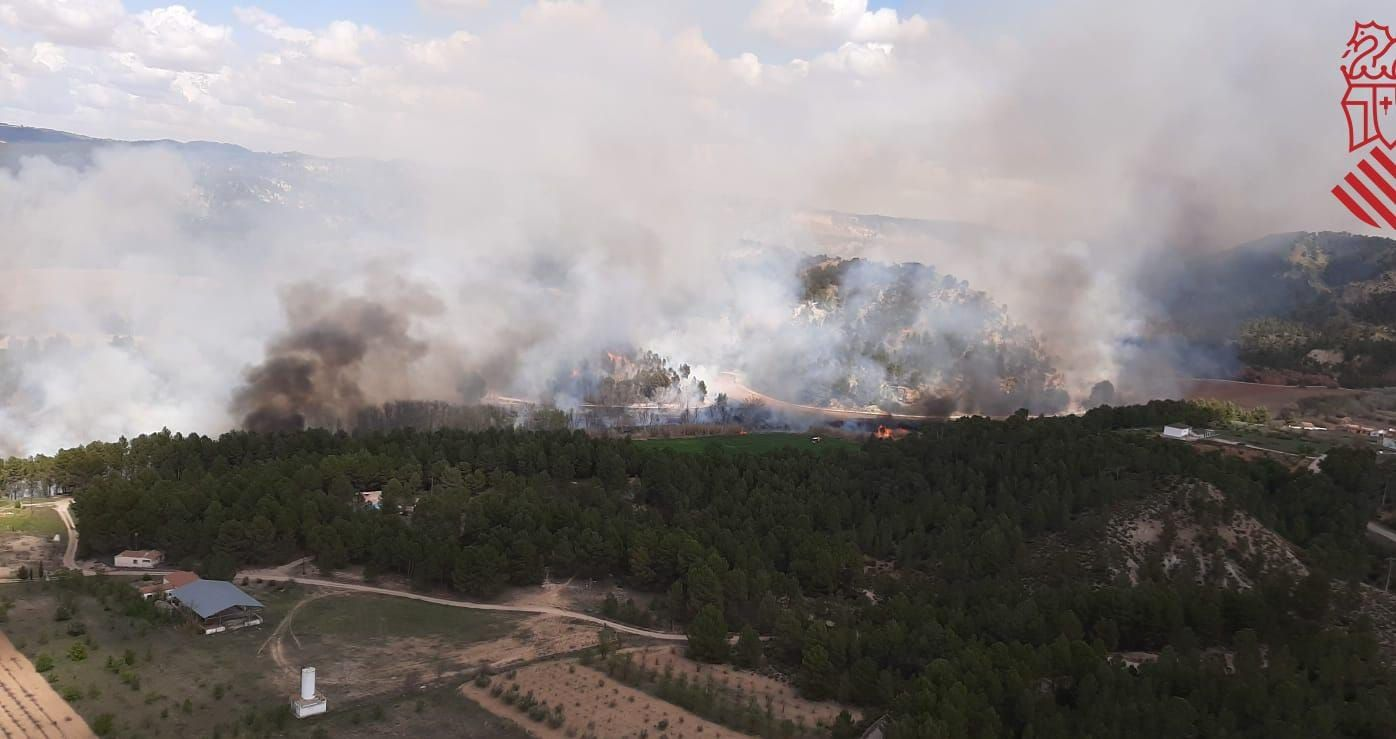 Incendio forestal en Requena