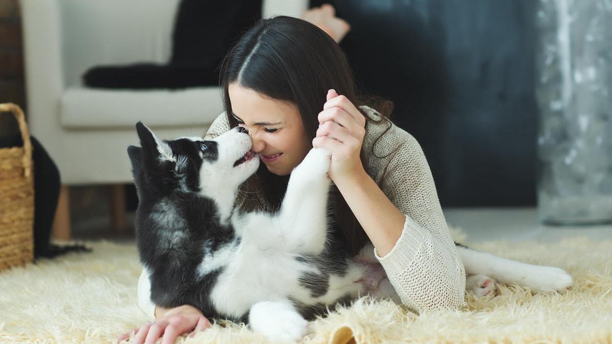 Una mujer juega con su mascota.