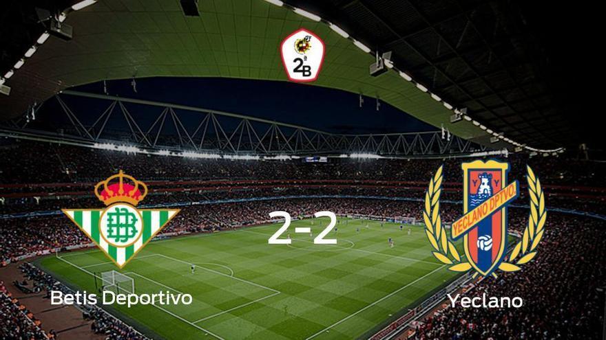 El Betis Deportivo y el Yeclano Deportivo reparten los puntos tras empatar a dos