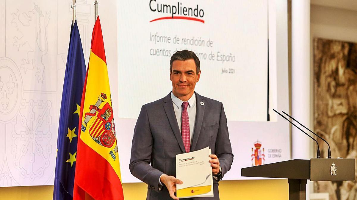 Pedro Sánchez mostra l'informe de rendició de comptes del seu Govern.   EUROPA PRESS