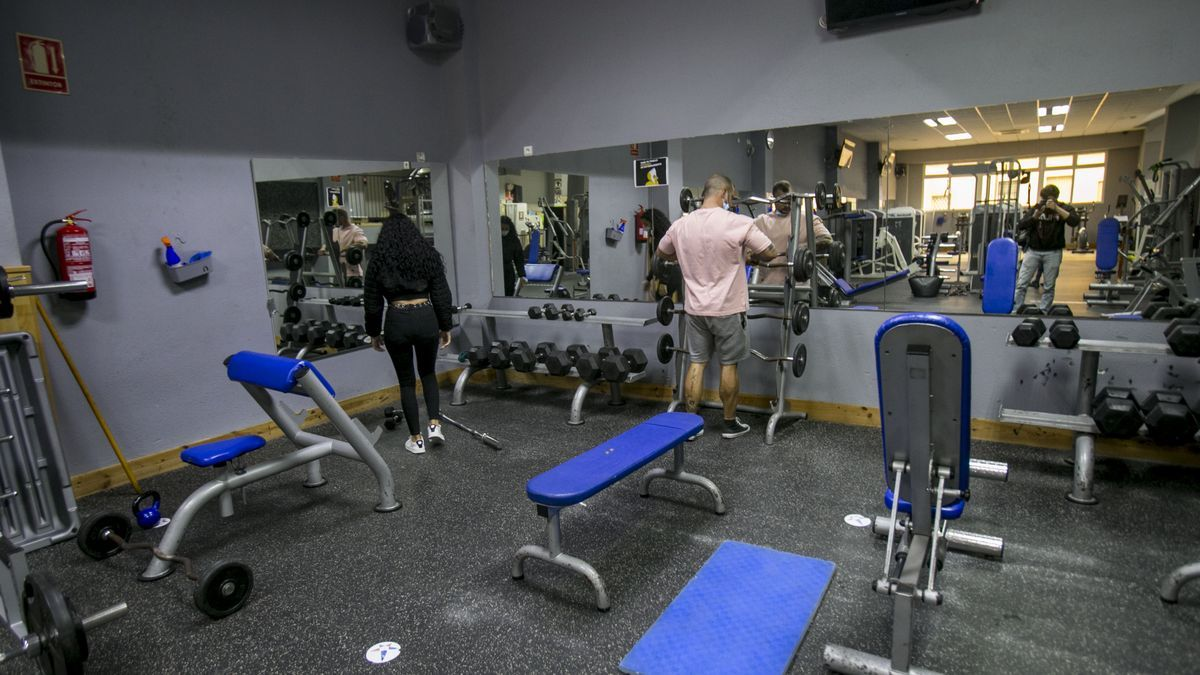A gym preparing to reopen last Friday