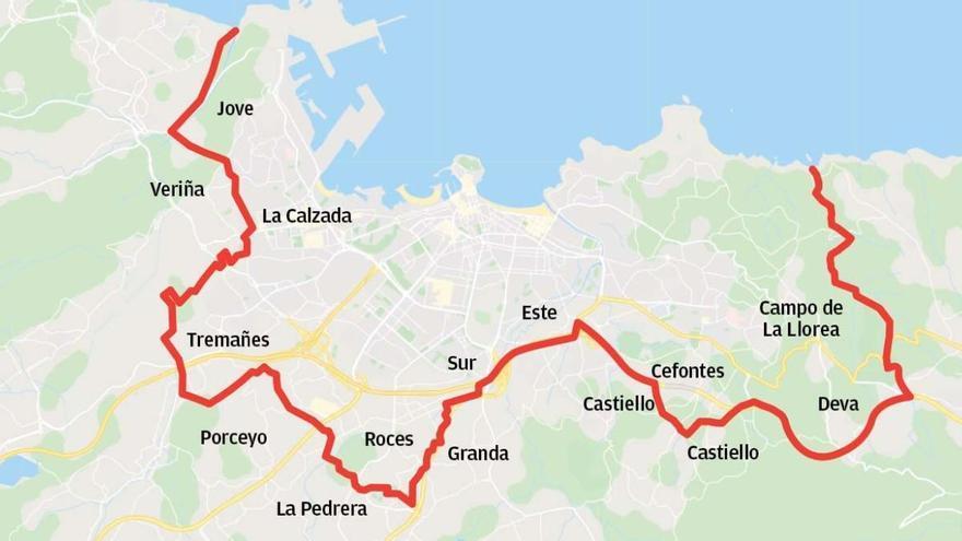 El cierre de Gijón incluye Jove, Tremañes, Roces, Somió, Cabueñes y una parte de Deva