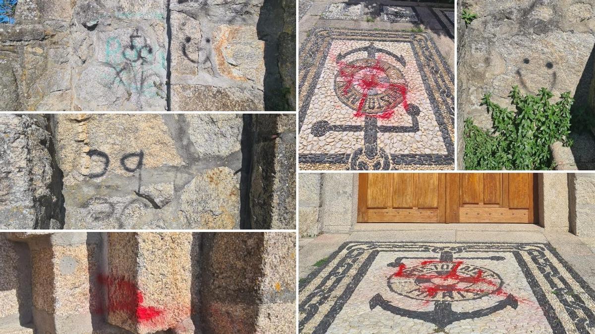Pintadas en la iglesia, las de color rojo, las más recientes.