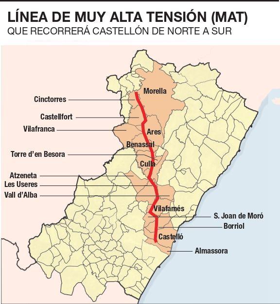 Los 16 municipios por los que cruzará la MAT en Castellón.
