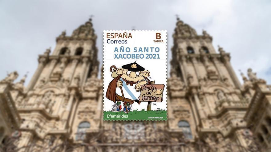 El Floreano de Gogue viaja ya en un sello de Correos para promocionar el Xacobeo