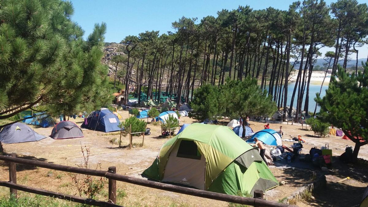 Una imagen de archivo del camping de Cíes