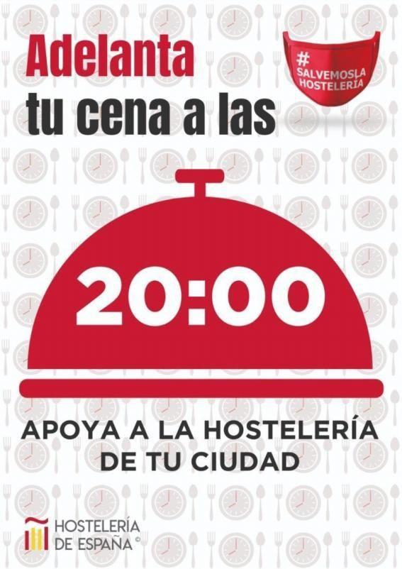 Cartel de apoyo a la campaña para adelantar la cena a las 20 horas
