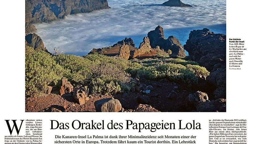 El principal periódico alemán sitúa a La Palma como destino seguro