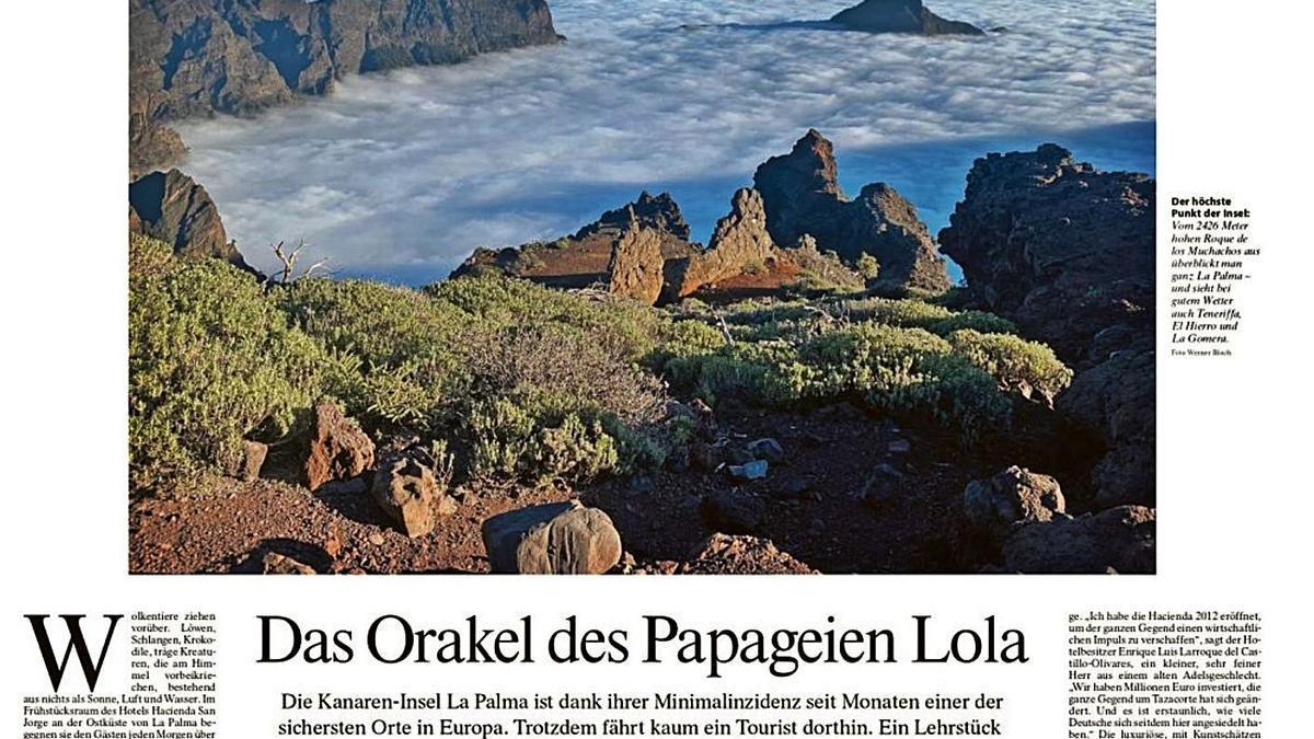 Artículo sobre La Palma en el periódico alemán 'Frankfurter Allgemeine Zeitung'.