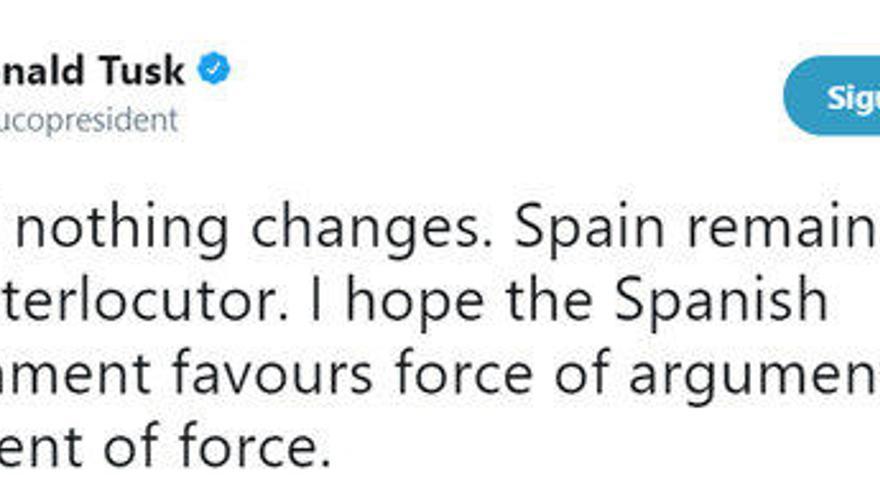 """Tusk demana a Espanya que """"afavoreixi la força dels arguments, i no l'argument de la força"""""""
