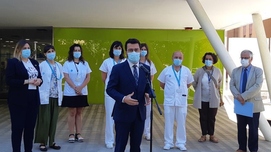 El president Aragonès es reuneix amb professionals sanitaris de Figueres