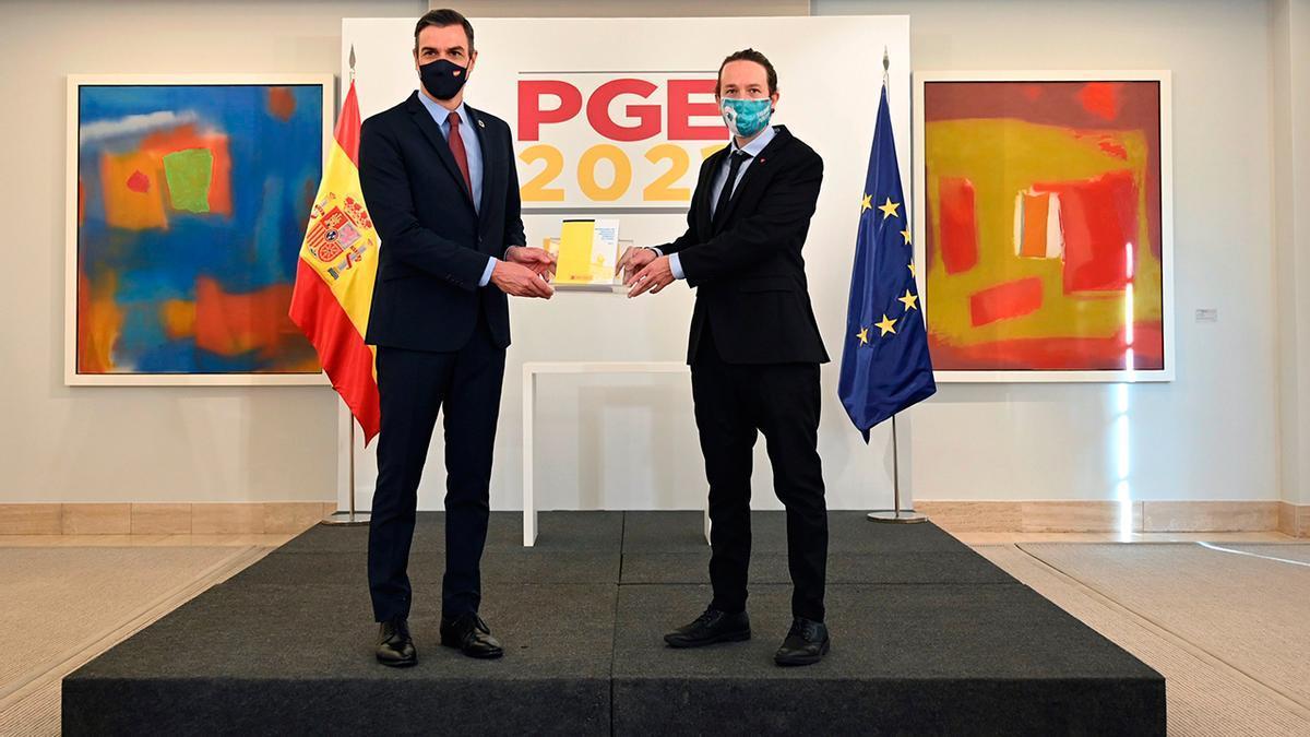 Pedro Sánchez y Pablo Iglesias en la presentación de los Presupuestos Generales 2021