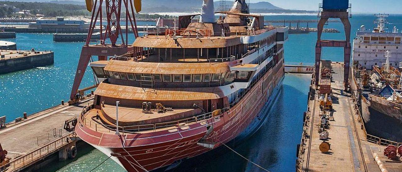 El tercero de los siete cruceros que construye el astillero West Sea, en Viana do Castelo, para Mystic Cruises.