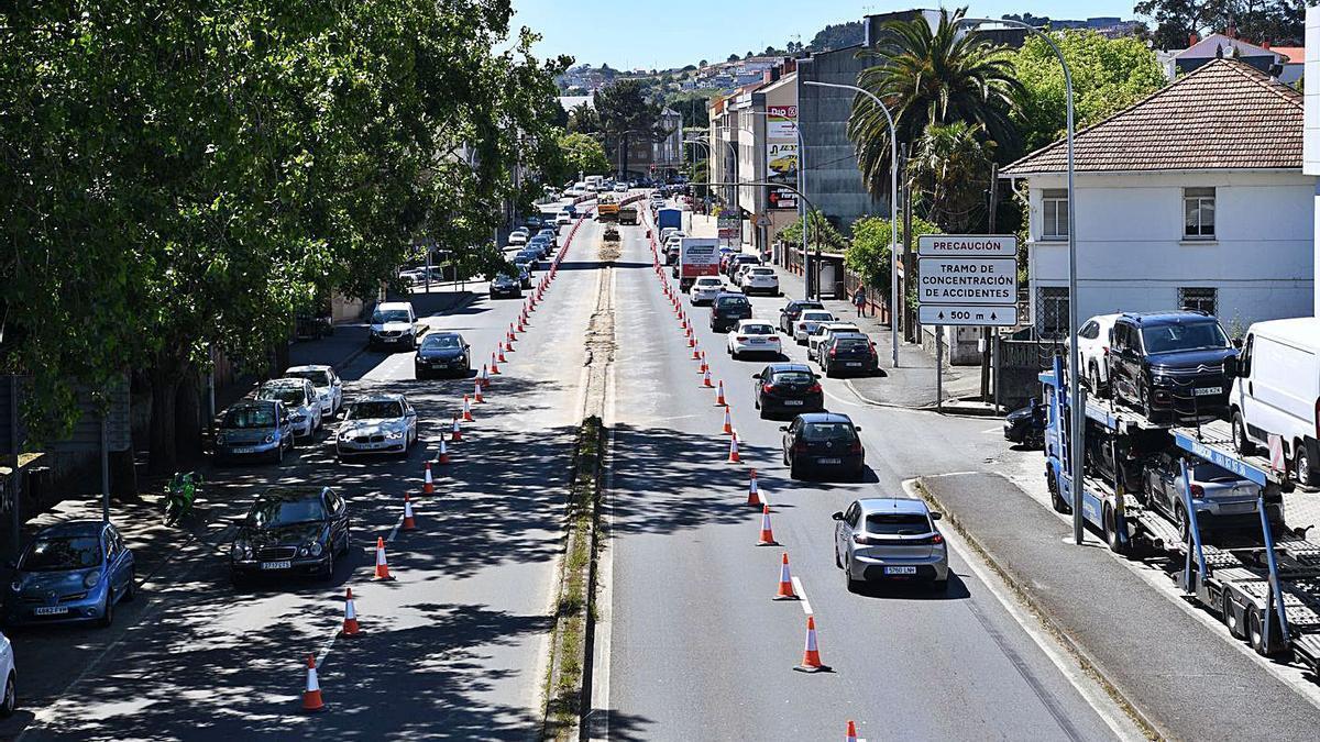 Tráfico en las obras en Santa Cruz, a principios de este mes.     // CARLOS PARDELLAS
