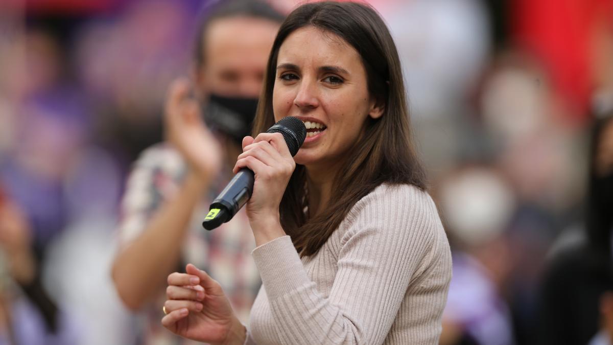 La ministra de Igualdad, Irene Montero, durante un acto electoral de Unidas Podemos.