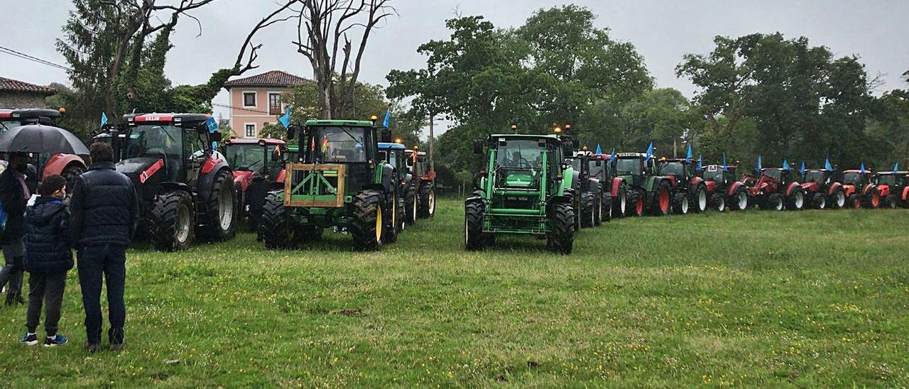 """Algunos de los participantes en la """"tractorada"""" organizada en Llanes por Ganagri el pasado 15 de mayo."""