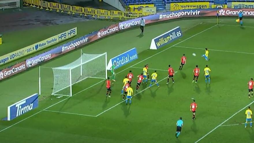 Gol anulado de la UD Las Palmas frente al Logroñés
