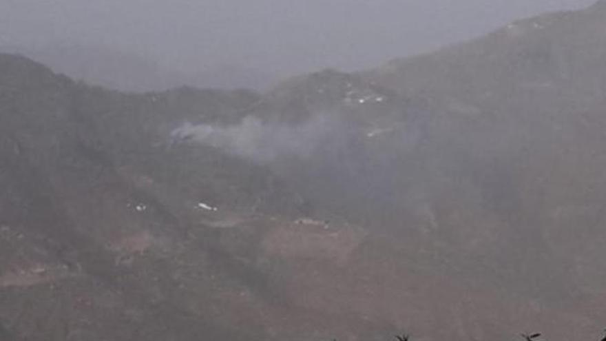 Emergencias interviene en el incendio en Tejeda, en Gran Canaria