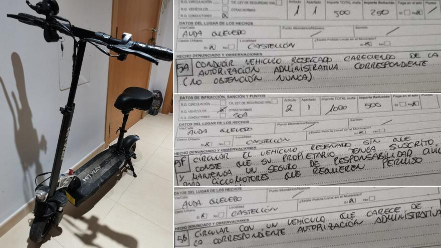 Un vecino de Castelló es sancionado con 2.000 euros de multa por circular con un patinete eléctrico