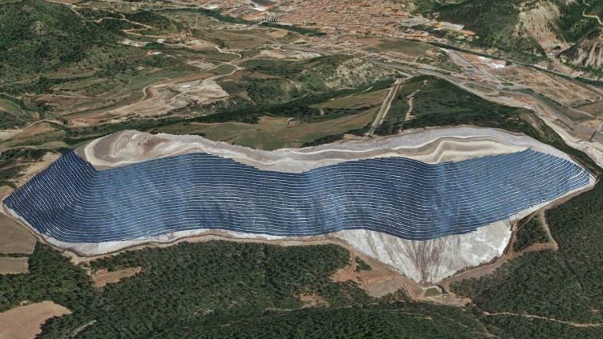 Imatge virtual de com presentava l'avantprojecte el camp fotovoltaic
