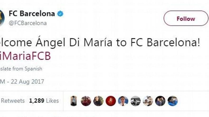Hackean la cuenta de Twitter del Barcelona y anuncian la llegada de Ángel di María