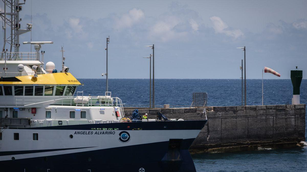 El 'Ángeles Alvariño' vuelve al puerto de Santa Cruz de Tenerife.