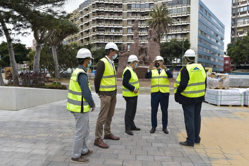 Obras de la peatonalización de la Plaza de España