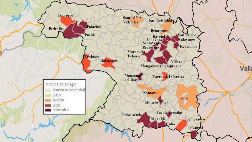 Mapa de coronavirus de Zamora, hoy, jueves | Benavente vuelve a sobrepasar los 140 casos de incidencia