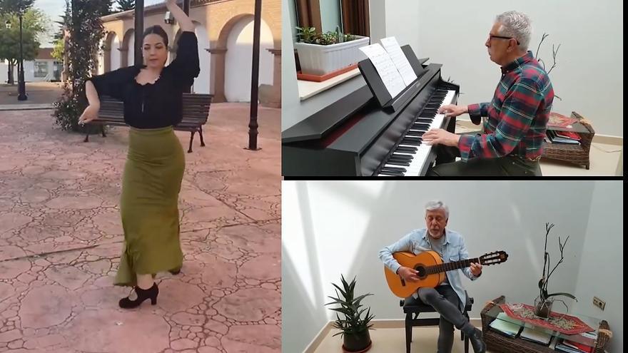 Los músicos Felipe y José Martínez regalan a Monesterio unas sevillanas por San Isidro