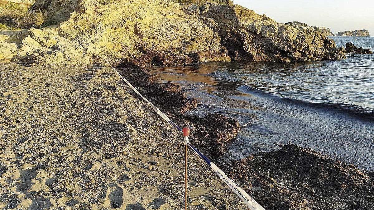 Un precinto impide el baño en la playa de Monte de Oro, en la urbanización Costa de la Calma.