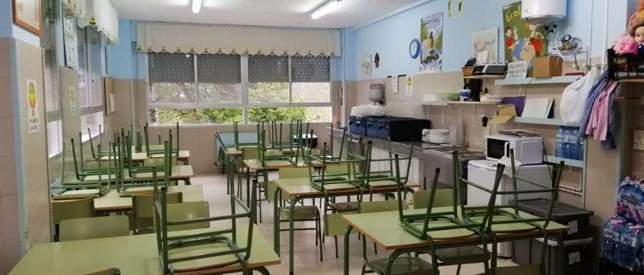 El comedor escolar del colegio Souto-Donas, que ofrece dos turnos de 45 y 20 niños cada día.