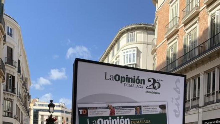 Exposición por el 20 aniversario de La Opinión de Málaga en la calle Larios