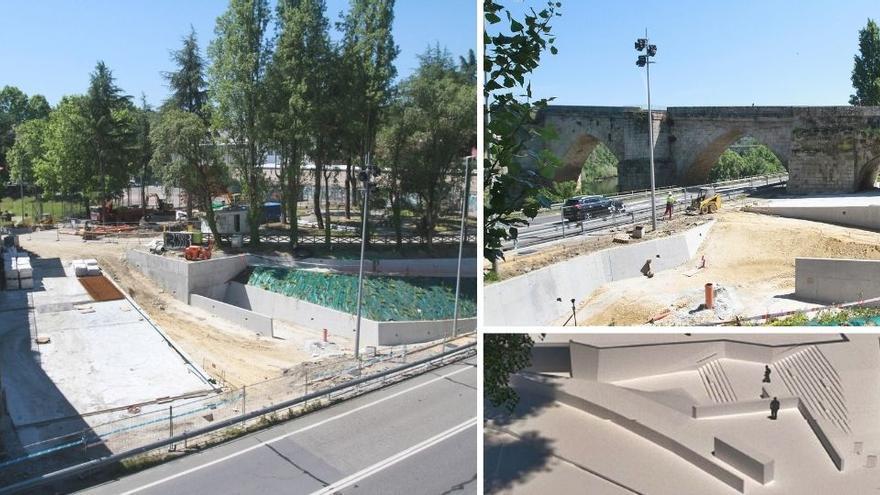 Hormigón junto al Puente Viejo: empedrado y plantas embellecerán el área en reforma