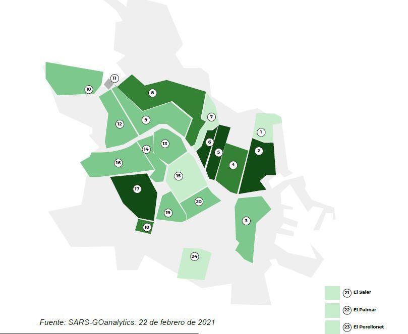 Mapa por barrios. Cuanto más oscuro es el verde, mayor concentración hay.