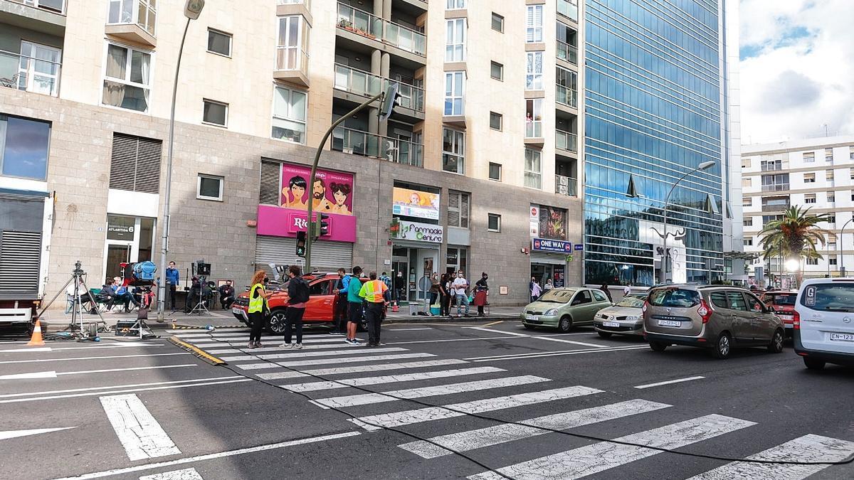Rodaje de un anuncio publicitario en la calle Áurea Díaz-Flores, en Santa Cruz.