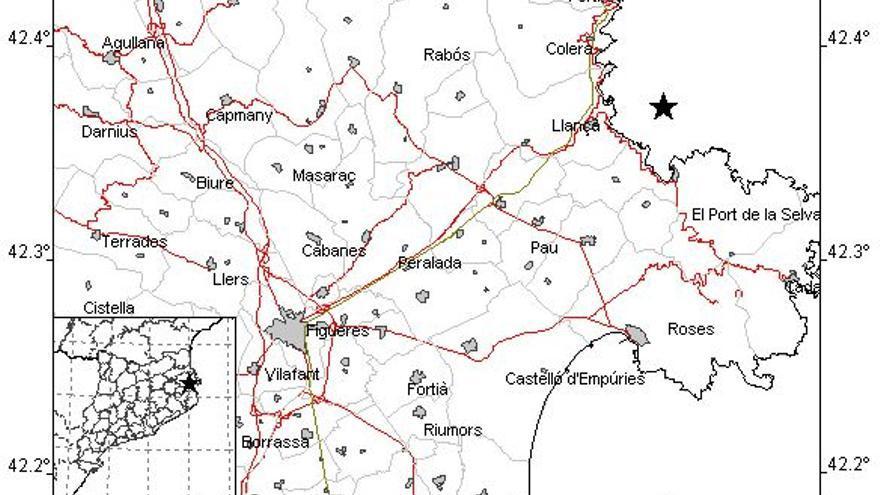 Un terratrèmol de 2,5 graus Richter es deixa sentir en zones de l'Alt Empordà