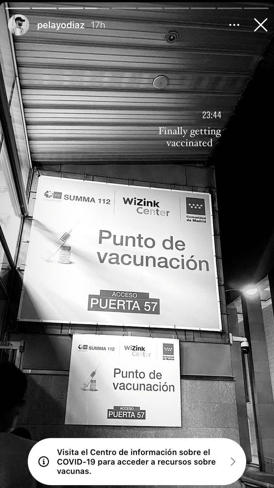 Instastory de Pelayo Díaz en el Wizink center