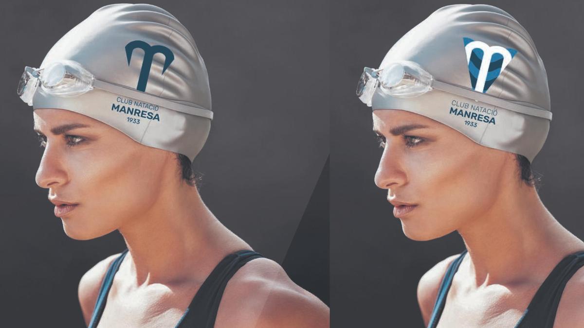 Dues aplicacions possibles dels nous logotips proposats per renovar la imatge del CN Manresa