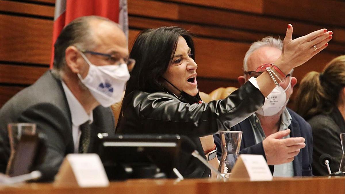 Ana Sánchez hace un gesto de protesta, durante un momento del pleno de las Cortes de ayer.   Ical
