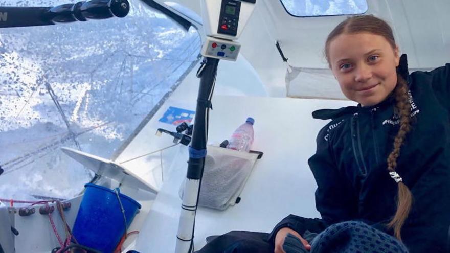 Greta Thunberg arriba a Nova York després de dues setmanes de travessia