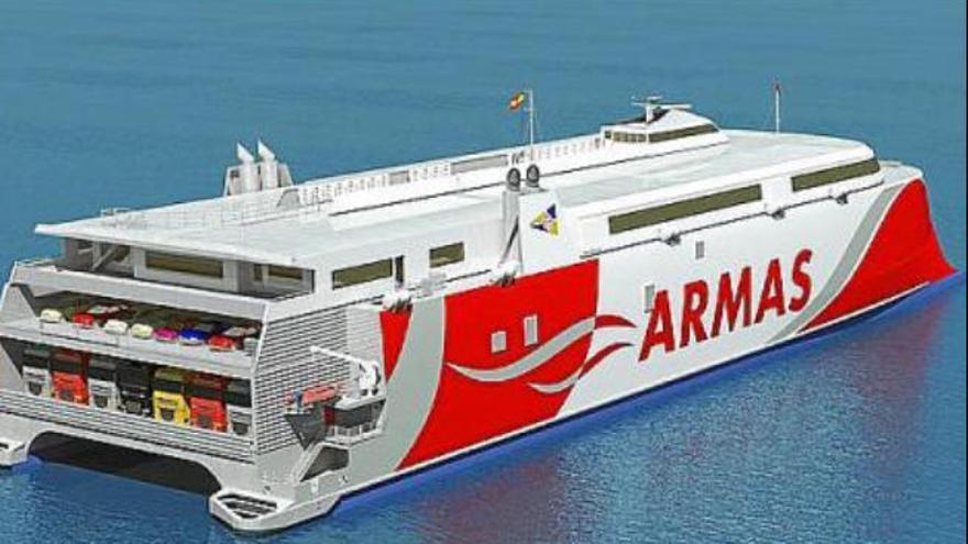 Armas incorpora a su flota el catamarán 'Volcán de Tagoro', el más avanzado del mundo