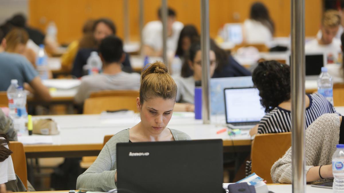 Estudiantes preparan exámenes en la Universitat de València.