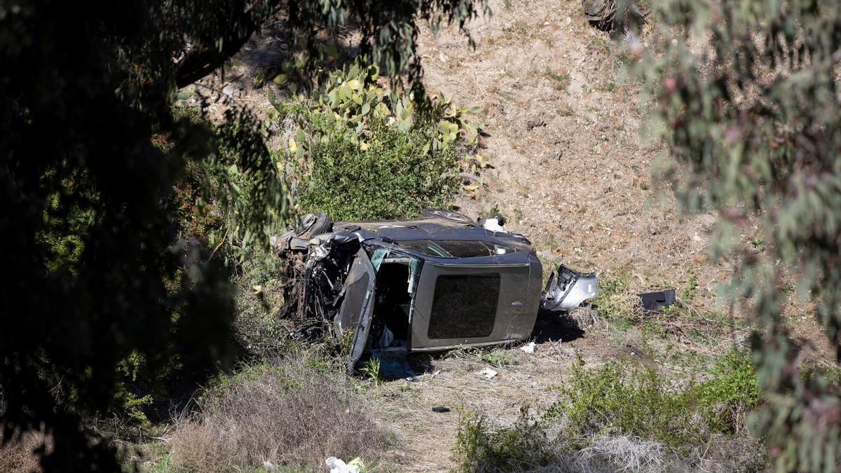 Estado del vehículo de Woods tras el accidente